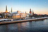 Winter panorama of Old Riga in the evening