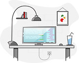 Flat design. Creative office desktop workspace.