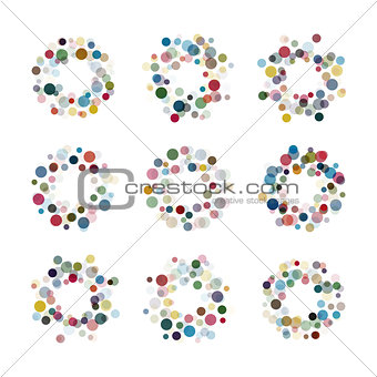 Abstract circle logotype set. Unusual dotted round isolated chem logo collection. Virus icon. Colorful sun. Flower symbol. Confetti sign.Vector germs illustration.