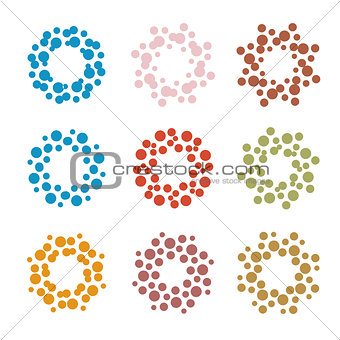 Abstract circle logotype set. Unusual dotted round isolated chem logo collection. Virus icon. Colorful sun. Flower symbol. Spiral sign.Vector germs illustration.