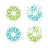 Abstract circle logotype set. Green and blue dotted round isolated chem logo collection. Virus icon. Unusual sun. Flower symbol. Spiral sign.Vector germs illustration.