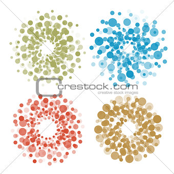 Abstract circle logotype set. Colorful dotted round isolated chem logo collection. Virus icon. Unusual sun. Flower symbol. Spiral sign.Vector germs illustration.