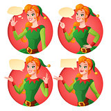Cartoon Christmas elf girl in different poses. Vector set.