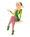 Woman in Christmas elf costume toasting with champagne. Vector illustration.