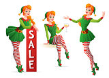 Beautiful vector girl in Christmas elf costume in different poses.