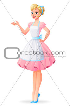 Beautiful housewife in pink dress and apron presenting. Vector illustration.