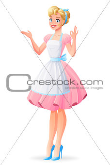Beautiful housewife smiling and showing ok sign gesture. Vector illustration.