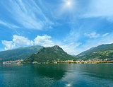 Lake Como (Italy) sunshiny view from ship