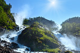 Summer sunshiny Latefossen waterfall, Norway