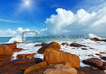 Ploumanach coast sunshiny view (Brittany, France)