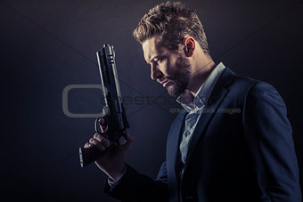 Brave man with dangerous weapon