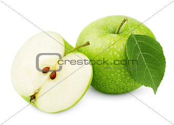 Green apple with leaf and half isolated on white