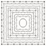 Vector Black Vintage Hand Drawn Square Frames Borders