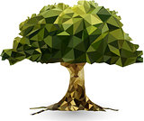 green tree in a triangular style vector illustration
