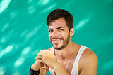 Portrait Happy Young Latino Man With Beard Smiling