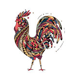 Illustration rooster inspired zentangle style.