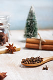 Christmas composition with dry star anise, cinnamon and cloves