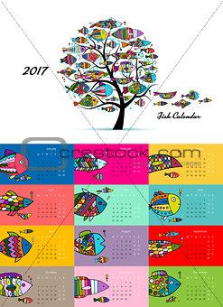Art fish tree. Design calendar 2017