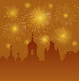 Old Cityscape with Celebration Fireworks