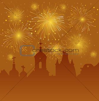 Old Cityscape with Celebration Fireworks