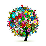 Mandala tree, floral sketch for your design