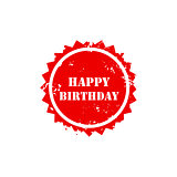 Happy birthday grunge stamp sign text red.