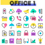 Office 1 linear icons collection