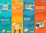 Graphic Design , Webdesign, Development, Freeance And Creative Time Concept