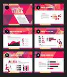 Presentation template with business infographics and character illustrations