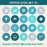Office 3 icon set. Multicolored flat buttons