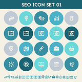 SEO icons, set 1. Multicolored flat buttons