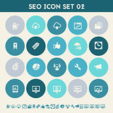 SEO icons, set 2. Multicolored flat buttons