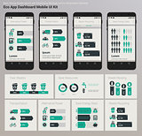 Flat design Admin Dashboard Eco New Energy infographics UI mobile app