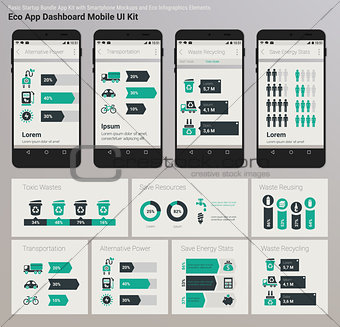 Flat design Admin Dashboard Eco New Energy infographics UI mobile app