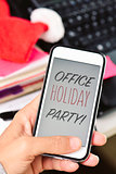 text office holiday party in a smartphone
