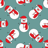 Seamless pattern with cute snowmen