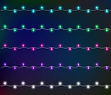 Glowing garland with small lamps. Garlands Christmas decorations lights effects. Vector illustration, clipart