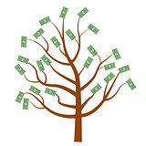 Tree with money. Dollars . Flat design, isolated white background. Vector illustration, clip art