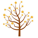 Tree with money. Coins. Flat design, isolated white background. Vector illustration, clip art