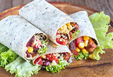 Four chicken burritos