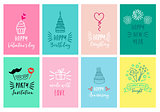 Celebration cards, vector set