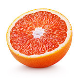 Half of blood red orange citrus fruit isolated on white