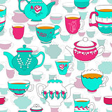 Seamless pattern of the doodle bright cup and pot.