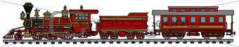 Classic red american steam train