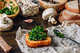 Bruschetta with Fresh Italian Herbs Mix