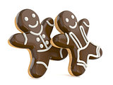 Smiling gingerbread men. 3D