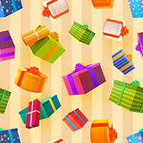 Bright colorful gift boxes on retro background, many presents seamless pattern.