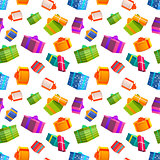 Bright colorful gift boxes on white background, many presents seamless pattern.