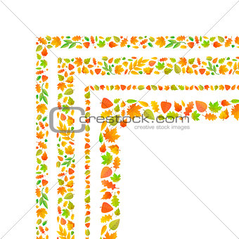 Four corners made from cute autumn leaves isolated on white