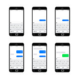 Set of six glossy smartphones with different sms texting templates